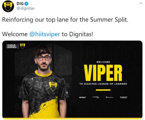 原FLY上單選手V1per加入DIG戰隊